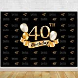 Glitter Gold and Black Photo Studio Booth Background Adult Happy 40th Birthday Party Decorations Banner Backdrops for Photography