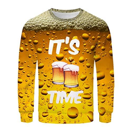 Xmiral T-Shirt Herren Rundkragen Bier Gedruckte Gelb Patchwork Hemd Persönlichkeit Lange Ärmel Top Print Shirt Basic O-Neck Oktoberfest(H Gelb 2,XL)