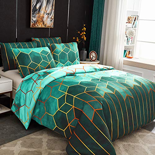 Dencalleus Geometric Printed Duvet Cover Set, Brushed Microfibre Nordic Soft Quilt Covers with Corner Ties, King Size, Boho Bedding Sets with Zipper Closure and Easy Care Hotel Quality, Green