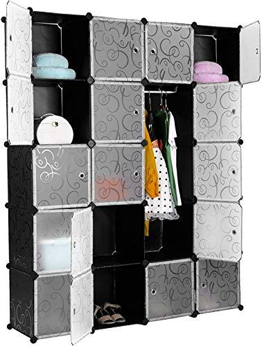 Guardaroba Modulare, 20 Cubi Armadietto Fai da Te, Armadietto Modulare, Mobiletto in Plastica per Il Bagno, Camera da Letto, Ingresso, 183x47x147cm, Nero