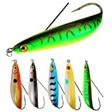 AMHDV Lures Fishing Spoon Weedless Minnow Hard Bait Rattling Saltwater Freshwater Baits (Pack of 5)