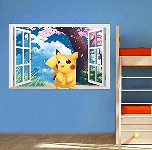 WTQang Wandtattoos Spiel Pikachu Pokemon Go Wandaufkleber für Kinderzimmer Schlafzimmer Cartoon Fenster Wandtattoos PVC DIY Poster