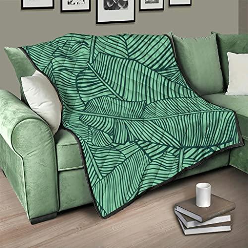 Flowerhome Colcha de hojas de plátano, para cama o sofá, para todo el año, para adultos y niños, color blanco, 150 x 200 cm