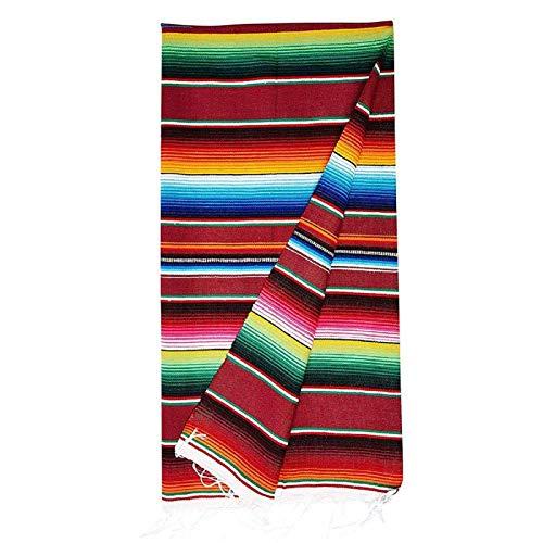 navigatee Manta Mexicana, Tassles Mexicanos Mantel A Rayas Cubierta De Tabla De Tela De Algodón para Fiesta Mexicana Suministros para Fiestas Manta De Playa, 150x200 Cm