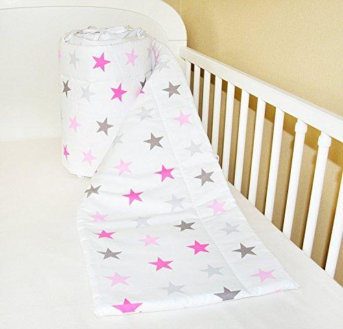 Amilian Bettumrandung Nest Kopfschutz Nestchen 420x30cm, 360x30cm, 180x30 cm Bettnestchen Baby Kantenschutz Bettausstattung Sternchen GROß rosa (180x30cm)