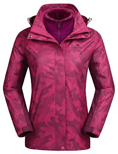 CAMEL CROWN 3-in-1 Women's Ski Jacket Waterproof Snowboard Mountain Fashion Jackets Winter Coat with Warm Fleece Inner for Hiking Outdoor Coral XXL