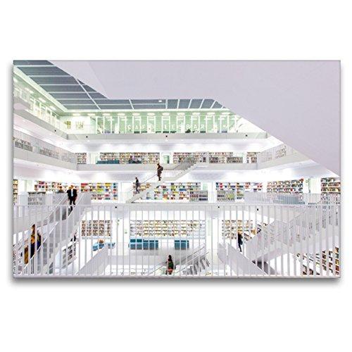 Premium Textil-Leinwand 120 x 80 cm Quer-Format Stadtbibliothek Stuttgart | Wandbild, HD-Bild auf Keilrahmen, Fertigbild auf hochwertigem Vlies, Leinwanddruck von Marcus Bayer Photography