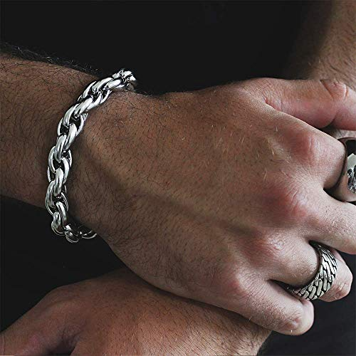 Baronyka Handmade Thick Silver Bracelet for Men, Stainless Steel, 8.5' Men's Rope Chain Bracelet with Easy Lobster Clasp, Long Lasting, Nickel Free