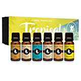 Tropical Gift Set of 6 Premium Grade Fragrance Oils - Coconut Cream, Bay Rum, Pina Colada, Tahitian...