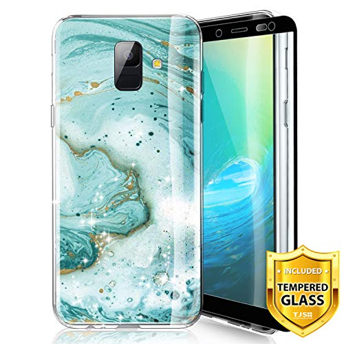 TJS Phone Case for Samsung Galaxy A6 2018, with [Full Coverage Tempered Glass Screen Protector] Ultra Thin Slim TPU Matte Color Marble Transparent Clear Soft Skin Protector Case Cover (Green)
