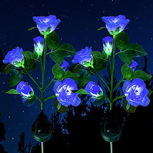 Luces solares para jardín, 2 unidades, con 12 rosas, resist