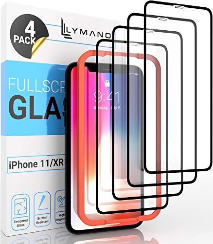 [4 Stück] LYMANO Panzer-Folie Glas Full Screen für iPhone 11 / iPhone XR Display-Schutzfolie Schutzglas Glass Protector [Anti Kratzer] [Blasenfrei] [Komplett Abdeckung] (6,1 Zoll) - Jetzt Ansehen