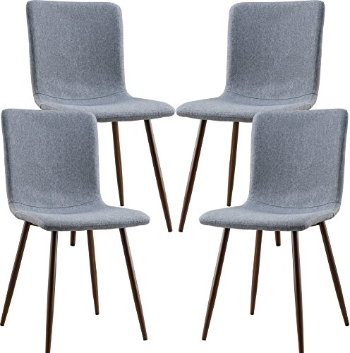POLY & BARK EM-287-GRY-X4-A Wadsworth Dining Chair with Walnut Legs, Set of 4