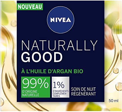 NIVEA NATURALLY GOOD Soin de Nuit Régénérant 50 ml, Soin visage avec 99% d'ingrédients d'origine naturelle, crème de nuit à l'huile d'Argan Bio & huiles précieuses