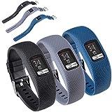 HUABAO Watch Strap Compatible with Garmin vivofit 4,Adjustable Silicone Sports Strap Replacement Band for Garmin vivofit 4 Smart Watch (Black+Gray+Dark Blue, L)