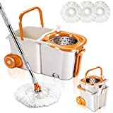 360 Spin Mop and Bucket with Wringer Set for Floor Cleaning Mops