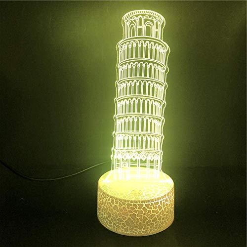 3D-Illusionslampe LED-Nachtlicht Schiefer Turm von Pisa Modell Einzigartige kreative Remote Touch Weihnachtsdekoration Geschenk Tischlampe