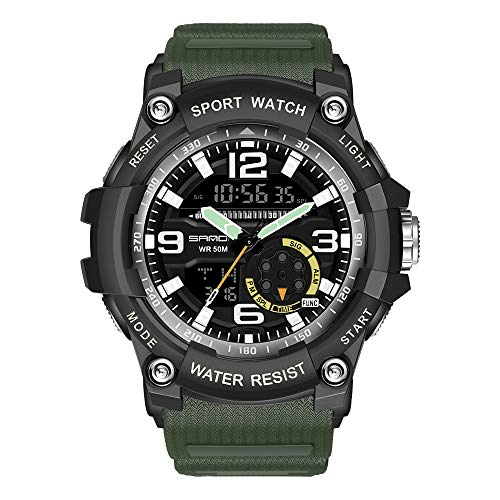 KXAITO Men's Watches Sports Outdoor Waterproof Military Watch Date Multi Function Tactics LED Alarm Stopwatch (05_Green2)