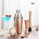 Juego de coctelera Boston Cocktail Drink,hecha de 304 herramientas de barra de acero inoxidable Kit de barman,kit completo de coctelera con libro de recetas Juego de coctelería profesional,oro rosa
