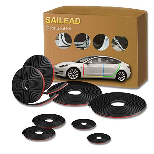 SAILEAD Tesla Model 3 Door Seal Kit, Soundproof Rubber Seal Strip Kit Model 3 Accessories, Wind Noise Reduce, Dirt Reduce, Weatherstrip Noise Reduction Kit (Left & Right Side)