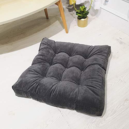 Wongbey - Almohada de suelo cuadrada redonda para meditación, para asientos en el suelo, cojín elástico grueso y grueso, para yoga, sala de estar, sofá, balcón, tatami (cuadrado gris oscuro)
