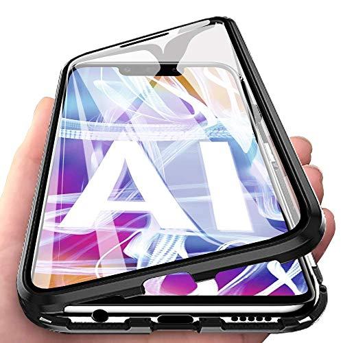Funda Compatible para Huawei Mate 20 Lite Adsorción Magnética 360 Grados Protección Carcasa Delantera y Trasera Colorear Vidrio Templado Metal Marco Delgada Bumper Cubierta Case (1)
