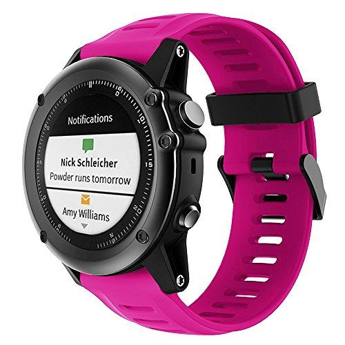 Fit-power - Correa de repuesto para reloj de pulsera Garmin Fenix 3/HR, talla única (sin rastreador, solo correa de repuesto), color rosa roja