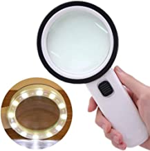ADTALA Magnifying Glass 30X, Large Magnifier with Light, LED Illuminated & Handheld, Premium High Power Magnify Glass for Reading Books, Seniors, Macular Degeneration, Stamps