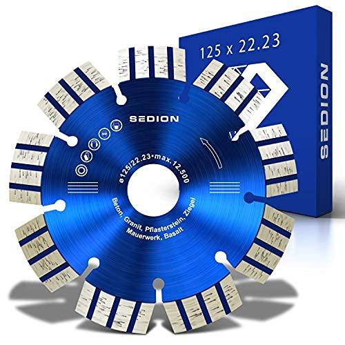 SEDION ® Disco de corte de diamante de 125 mm, para separar piedra, hormigón, hormigón armado, adoquines, granito, asfalto, basalto, 125 mm x 22,23 mm, calidad prémium Sedion