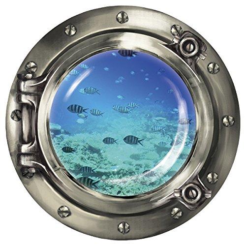 """Wandkings Wandsticker Bullauge """"Unterwasserwelt - Fischschwarm im Meer\"""" - 40 x 40 cm SILBER"""