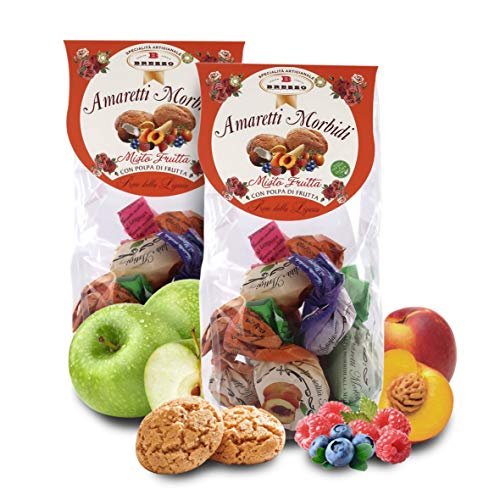 Amaretti Morbidi alla Frutta Assortita, 150 Grammi (Confezione da 2 Pezzi)