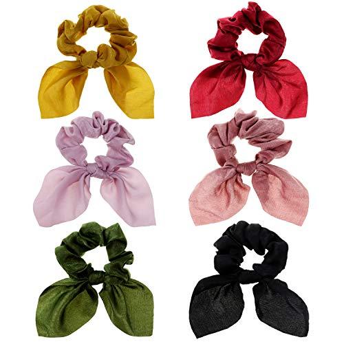 DRESHOW - Cinta para el pelo para mujer, diseño bohemio floral con nudos, cinta para el pelo, cinta para el pelo para la cara, de rizo, para yoga, deporte, ducha, cinta para la frente, 6 unidades