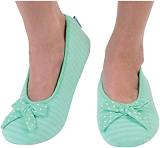 Snoozies Women's Lightweight Striped Ballet with Bow Slipper Socks (XL, Green)