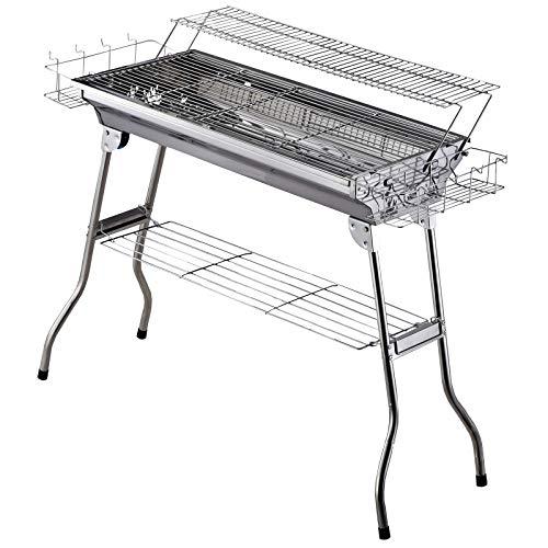 Barbecue à Charbon Pliable Portable BBQ Grill sur Pied avec étagère + 2 grilles Cuisson dim. 100L x 43l x 68H cm Acier INOX.