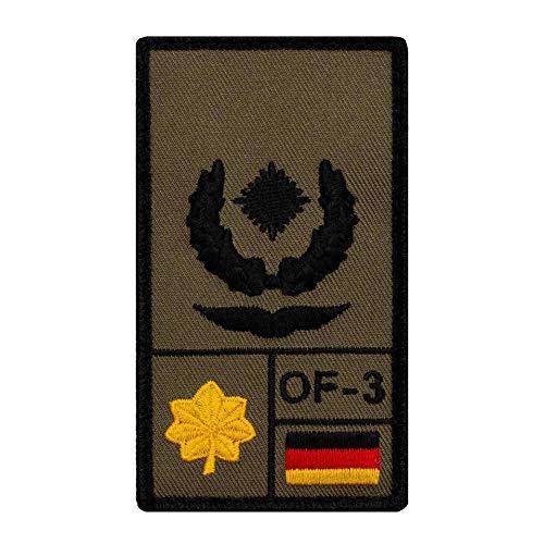 Café Viereck ® Major Luftwaffe Bundeswehr Rank Patch mit Dienstgrad - Gestickt mit Klett – 9,8 cm x 5,6 cm (Oliv)