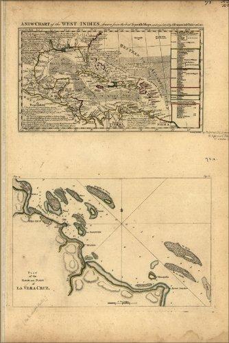 History Galore 24'x36' Gallery Poster, map of West Indies & Port of La Vera Cruz 1768