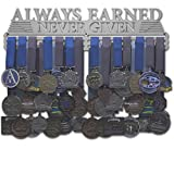 Allied Medal Hangers - Always Earned Never Given (Compact) - 18' Wide with 3 Hang Bars - Medal Hanger Holder Display Rack - Multiple