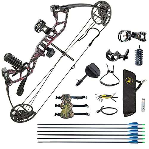 HYF Youth Compound Bow Package,USA Gordon Limbs,10-40lbs Adjustable Draw Weight,17'-27' Draw Length Without Bow Press,Bow Kit for Teens/Juniors,Right Hand,Lightweight Design (Muddy Girl-A)
