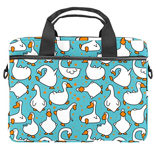 Laptop Tote Bag Computer Rucksack Compatible with Chromebook, MacBook Pro Cartoon Funny White Goose Pattern Blue
