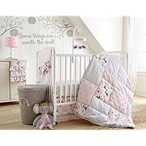 Levtex Baby – Elise Crib Bed Set – Baby Nursery Set – Pink, Grey and White – Floral and Eyelet Patchwork – 5 Piece Set Includes Quilt, Fitted Sheet, Diaper Stacker, Wall Decal & Skirt/Dust Ruffle
