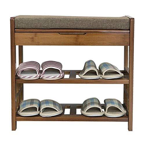 THBEIBEI Zapateros Zapato Gabinete 2tier Zapato Gabinete de Almacenamiento de múltiples Funciones del Taburete de la Sala Zapato Gabinete En Bambú Ideal for Pasillo, baño, Sala de Estar, Dormitorio