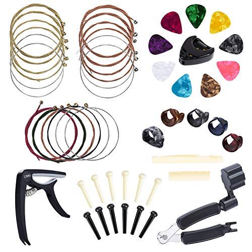 Anvin todo en 1 kit de herramientas de accesorios de cambio de guitarra incluyendo púas de guitarra, cejilla, cuerdas de acústica, bobinador de cuerdas, clavijas de puente, extractor de pines