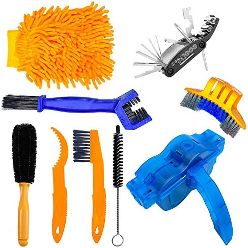 9 Pieces Bike Chain Cleaner Cleaning Brush Set Cycling Tools Kit Bike Accessories Scrubber for product image