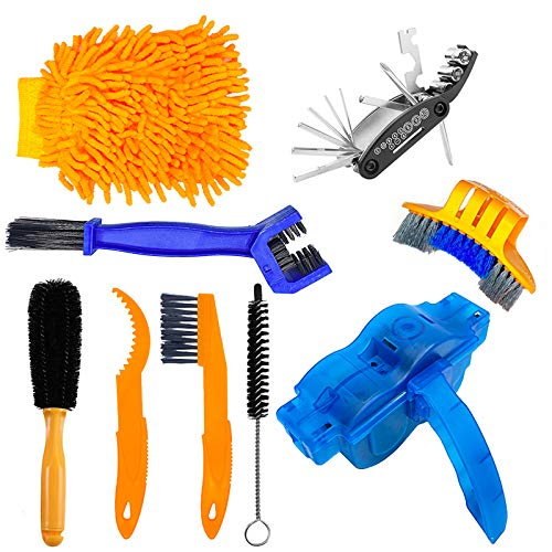 9 Pieces Bike Chain Cleaner Cleaning Brush Set Cycling Tools Kit Bike Accessories Scrubber for Mountain, Road, City, Hybrid, BMX Bicycle and Motorcycle