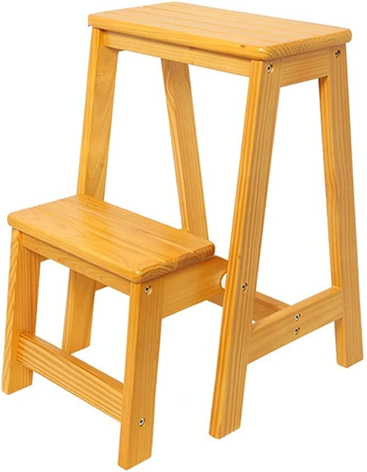 Yellow Solid Wood Folding Stool, 2-Step Ladder, Stair Step Garden Office Family Library, Maximum Load 150kg