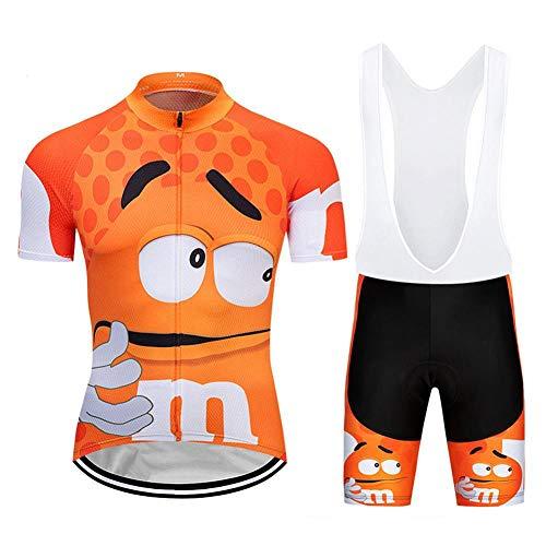Moxilyn fietsbroek voor heren, set fietspakken, zomer ademend fietsshirt met korte mouwen en 9D gel-pad-fietsbroek voor buiten fietsen en paardrijden