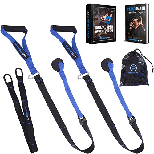 PhysioFit Schlingentrainer mit Türanker - Sling Trainer- Home Gym- Home Training- Schlingentraining- Suspension Trainer- Fitness Zuhause - Slingtrainer für Ganzkörpertraining mit über 30 Übungen