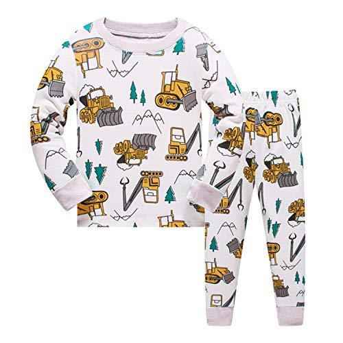 パジャマ 上下セット 綿100% 部屋着 寝間着 上下セット 2-11歳 男の子 長袖 子供服 トップス パンツ キッズパジャマ カジュアル 快適 肌触りがいい (黄·ショベル, 120)