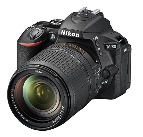 Nikon D5500 SLR-Digitalkamera (8,1 cm (3,2 Zoll), 24,2 Megapixel, neig-/drehbares Touchscreen-Display, 39 AF-Messfelder, Full-HD-Video, Wi-Fi, HDMI) Kit inkl. DX 18-140mm VR Objektiv schwarz