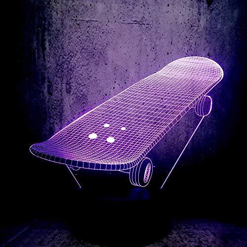 FCH-GY Lampada per illusione di luce notturna 3D LED per bambini sport skateboard luce d'atmosfera lampada da comodino telecomandata 7 colori cambiano